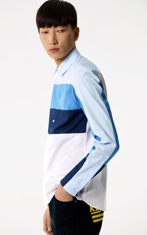 WHITE Colour Block Shirt for men KENZO