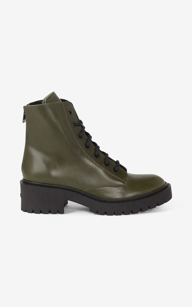 DARK KHAKI Lace-up Pike leather ankle boots  for unisex KENZO