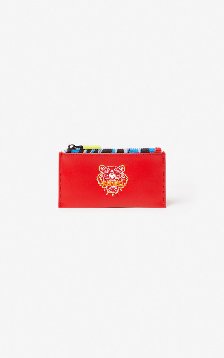 MEDIUM RED 'Tiny Tiger' zipped leather card holder for men KENZO
