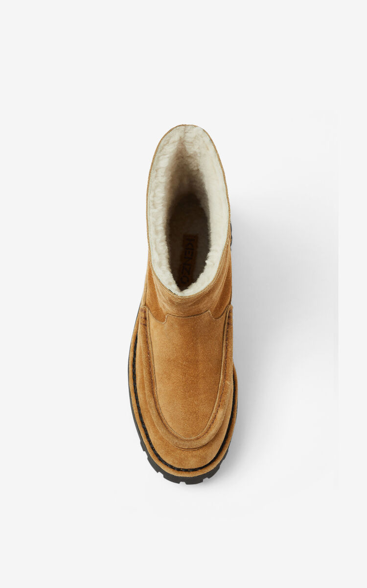 DARK CAMEL K-Mount suede ankle boots for unisex KENZO