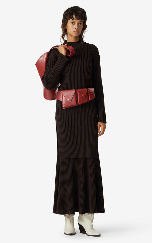 DARK BROWN Merino wool jumper dress for men KENZO