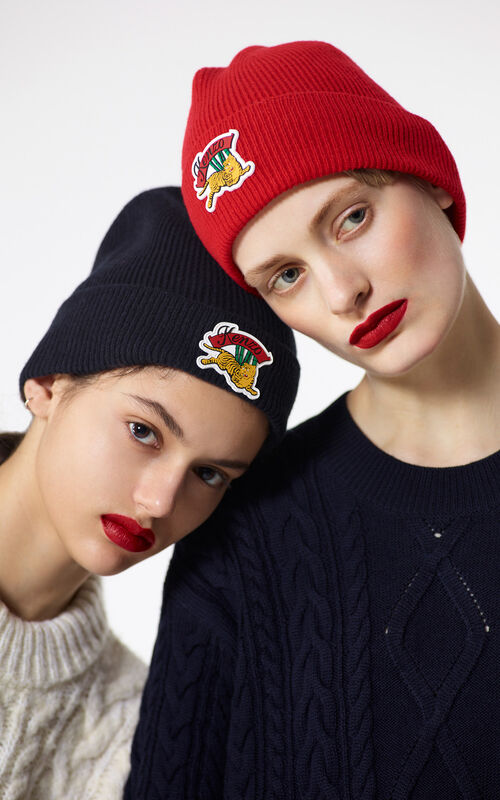 MEDIUM RED 'Jumping Tiger' wool beanie for women KENZO
