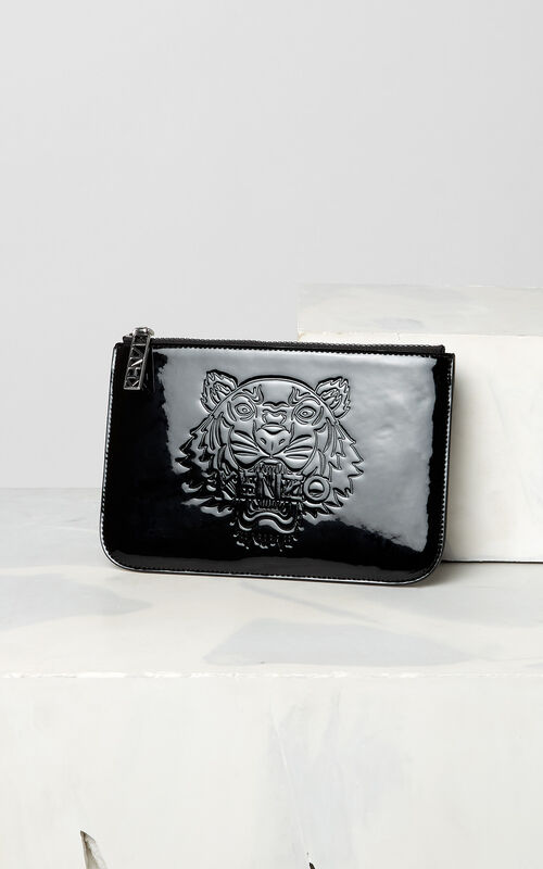 BLACK A5 patent Tiger clutch for unisex KENZO