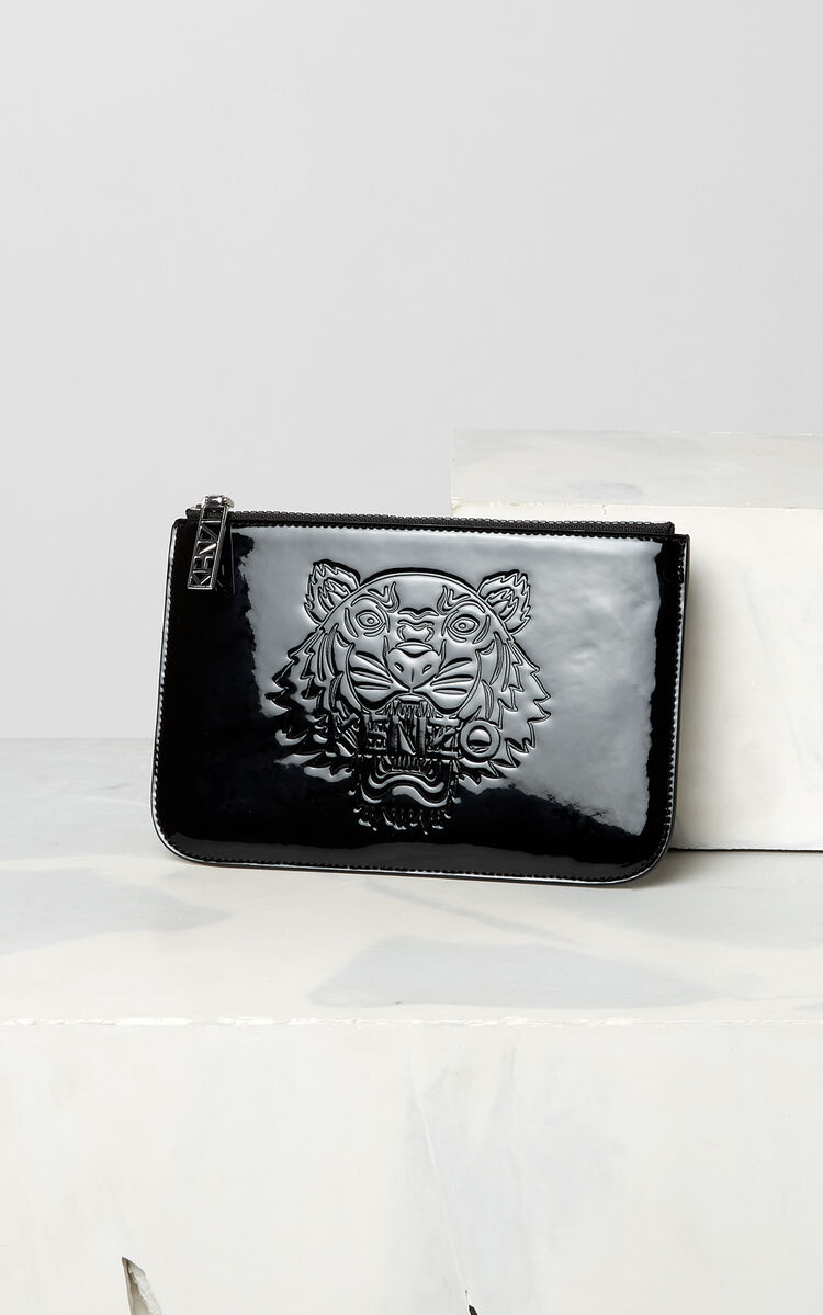 BLACK A5 patent Tiger clutch for women KENZO