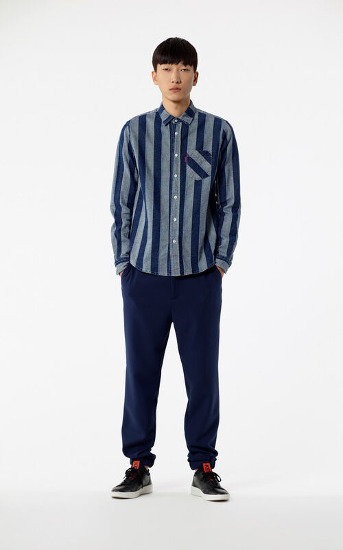 NAVY BLUE Denim striped shirt for men KENZO