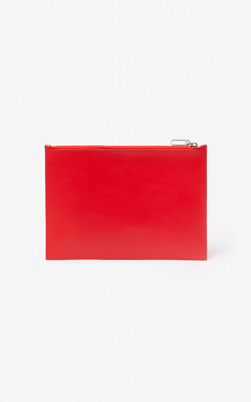 e1e085649eb ... MEDIUM RED A4  Square Logo  leather clutch for unisex KENZO