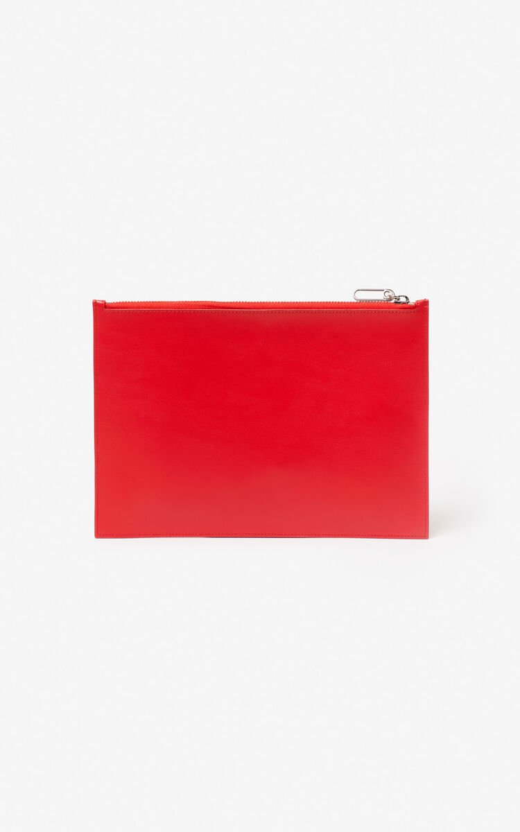 MEDIUM RED A4 'Square Logo' leather clutch for unisex KENZO