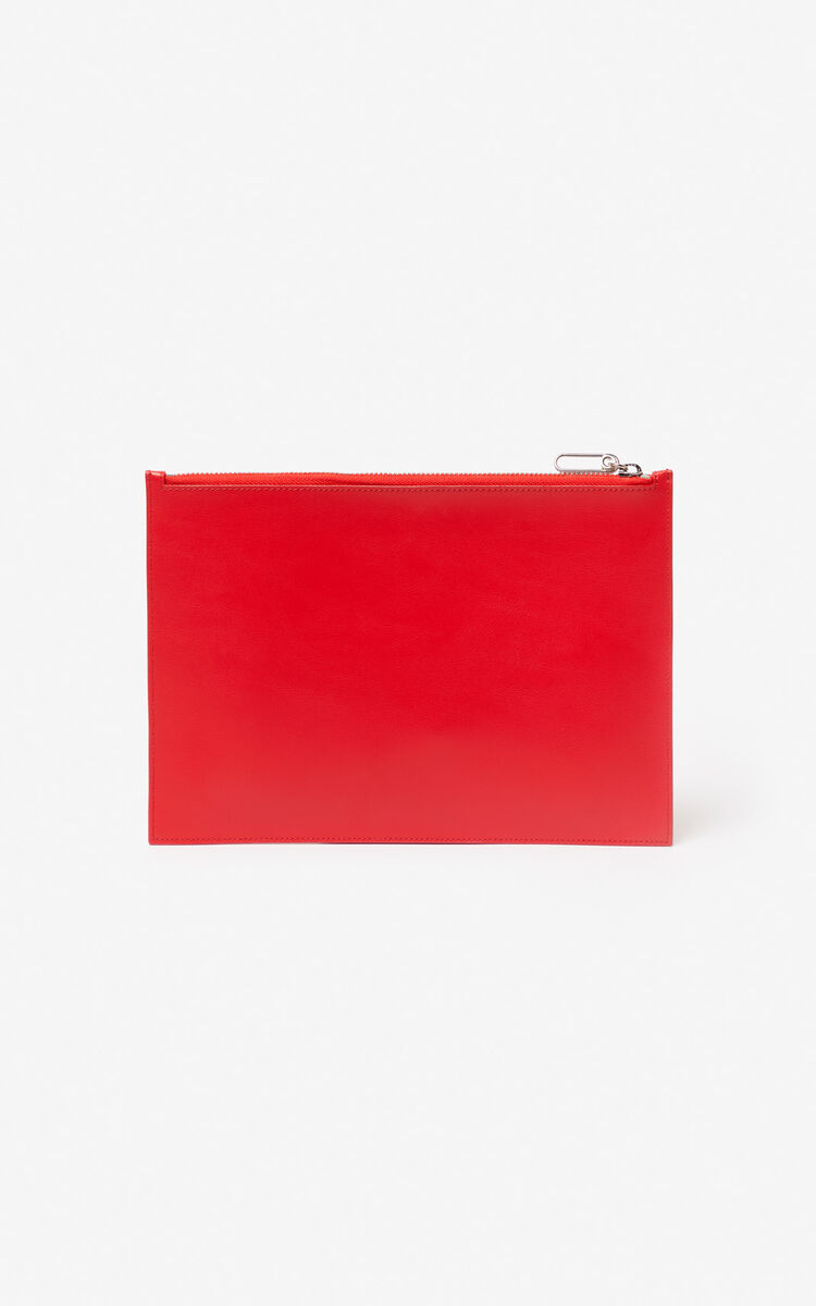 MEDIUM RED A4 'Square Logo' leather clutch for women KENZO