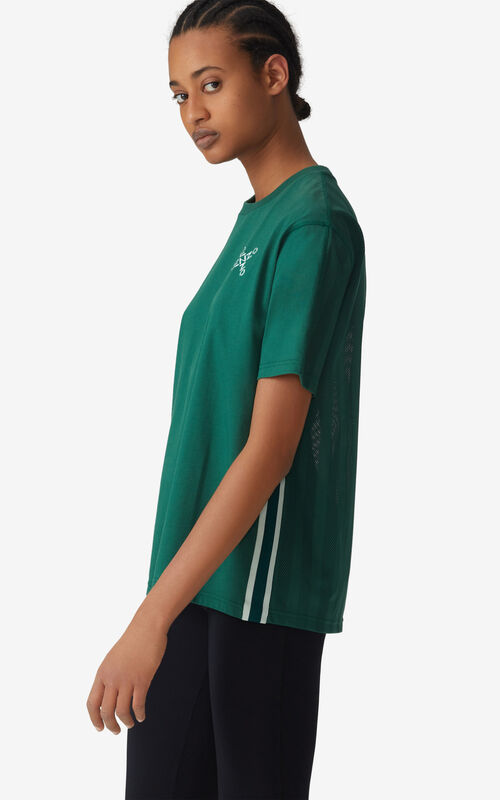 GREEN KENZO Sport 'Little X' mesh t-shirt for women