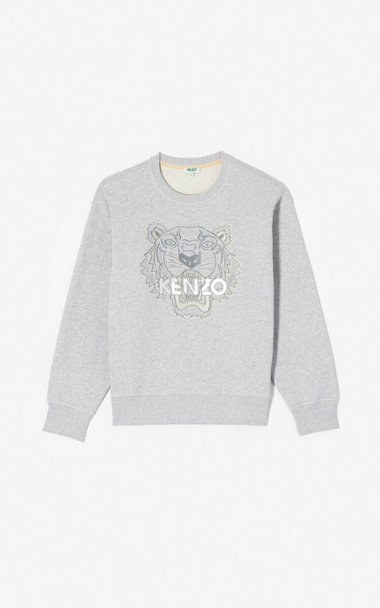 PEARL GREY Iridescent Tiger sweatshirt for women KENZO