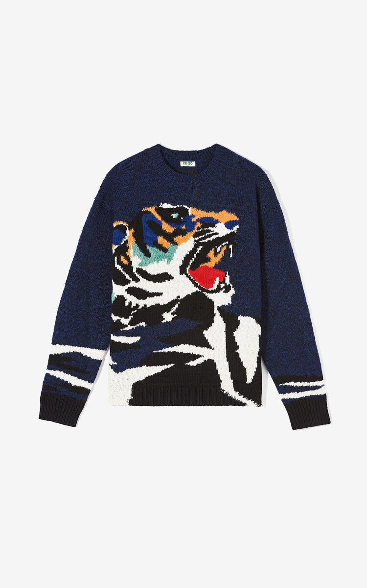 NAVY BLUE Tiger Head' jumper for men KENZO