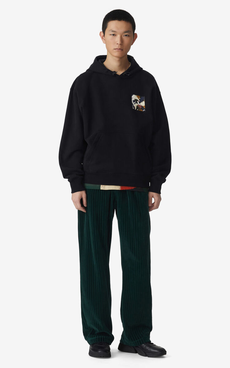 BLACK Oversized 'Brushed Camo' hoodie sweatshirt for men KENZO