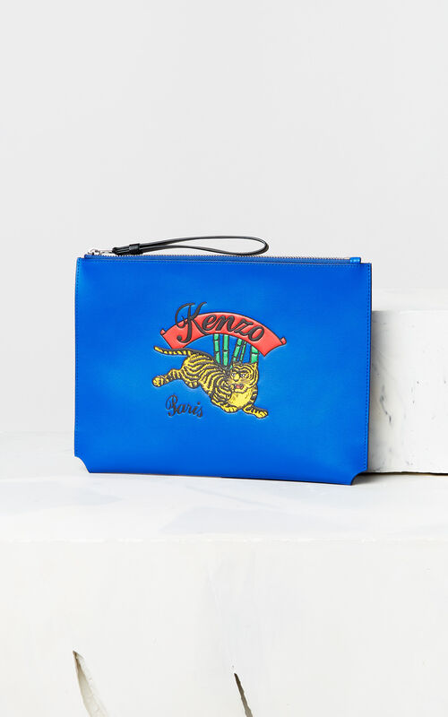 FRENCH BLUE A4 'Jumping Tiger' leather clutch for unisex KENZO