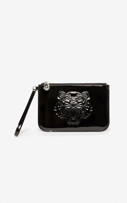 BLACK A5 Tiger clutch for unisex KENZO