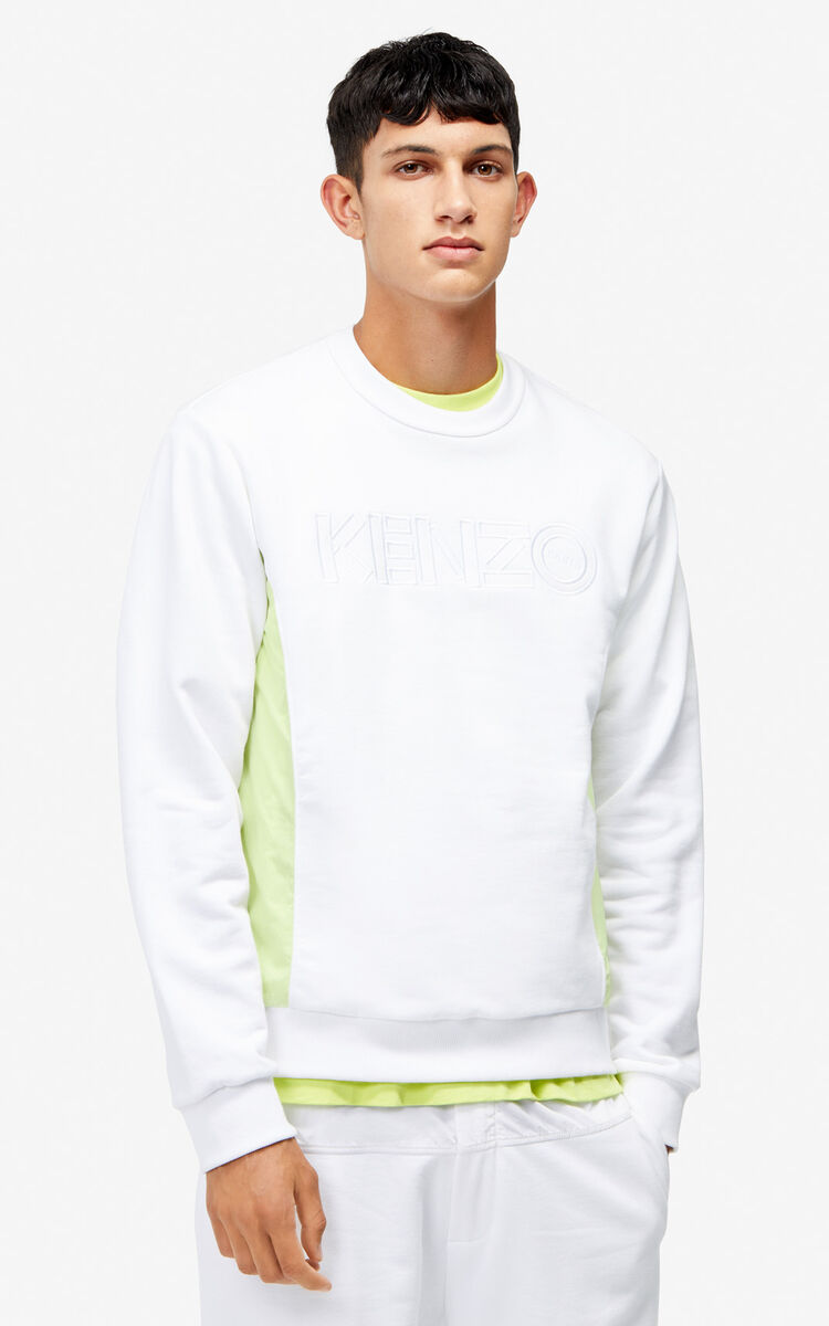 WHITE Dual material sweatshirt for men KENZO