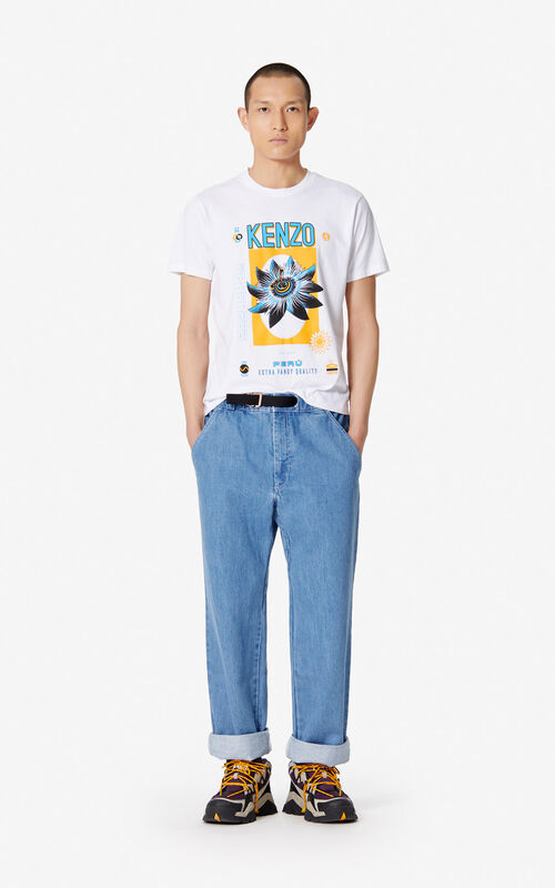 WHITE 'Bamboo Rice' T-shirt for men KENZO