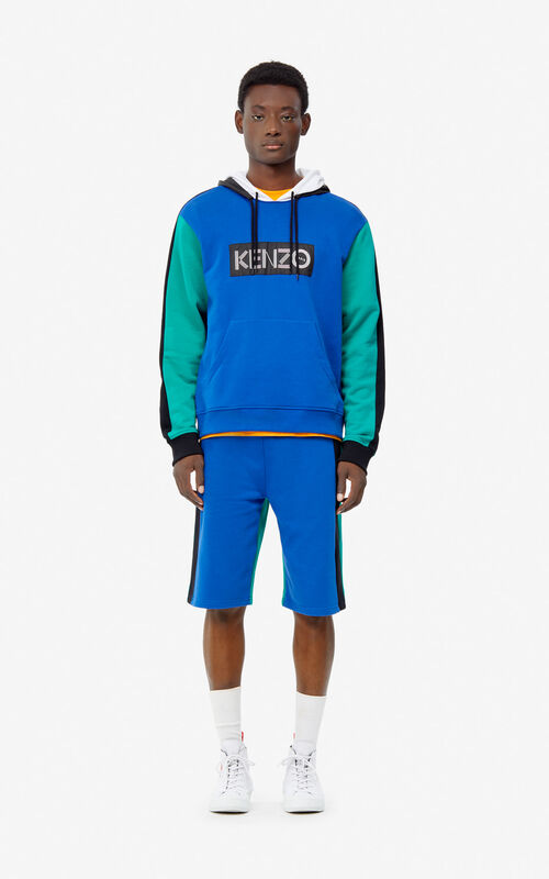 FRENCH BLUE KENZO logo colorblock sweatshirt for men