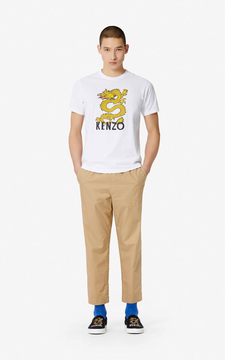 WHITE 'Dragon' t-shirt for women KENZO