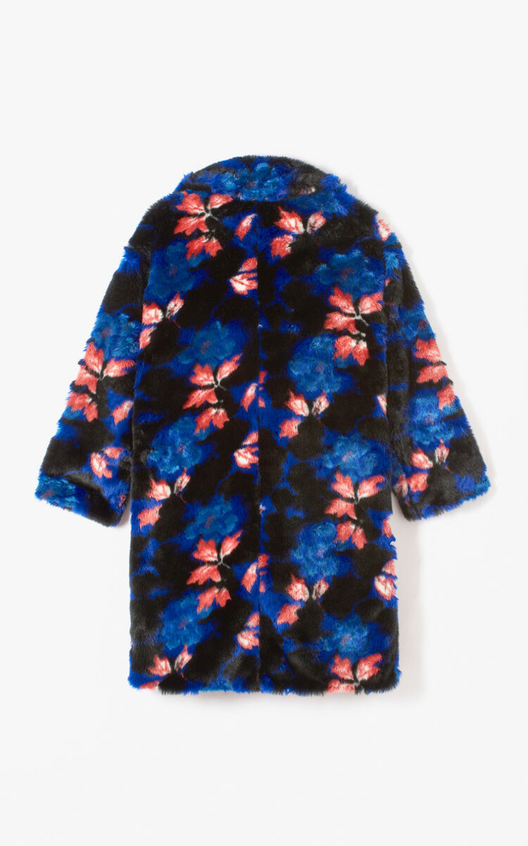 ANTHRACITE 'Indonesian Flower' faux fur coat for women KENZO