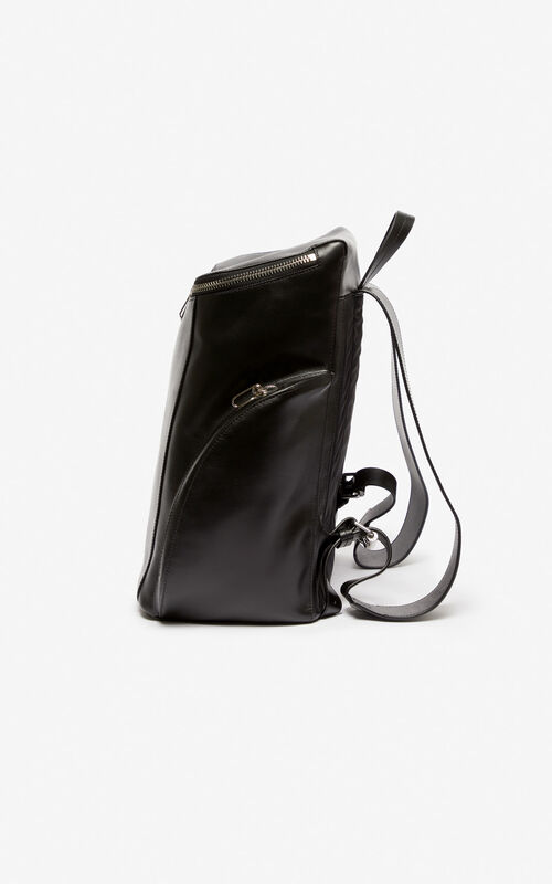 BLACK KENZO leather Logo Backpack for men