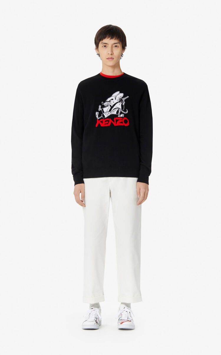 BLACK 'Chinese New Year Capsule' jumper with 'Kung Fu Rat' pattern on front for men KENZO