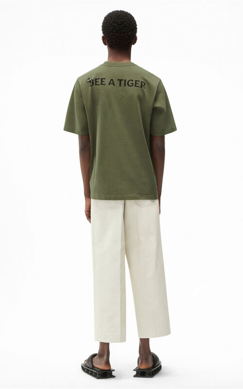PALE KHAKI Bee a Tiger' T-shirt for men KENZO