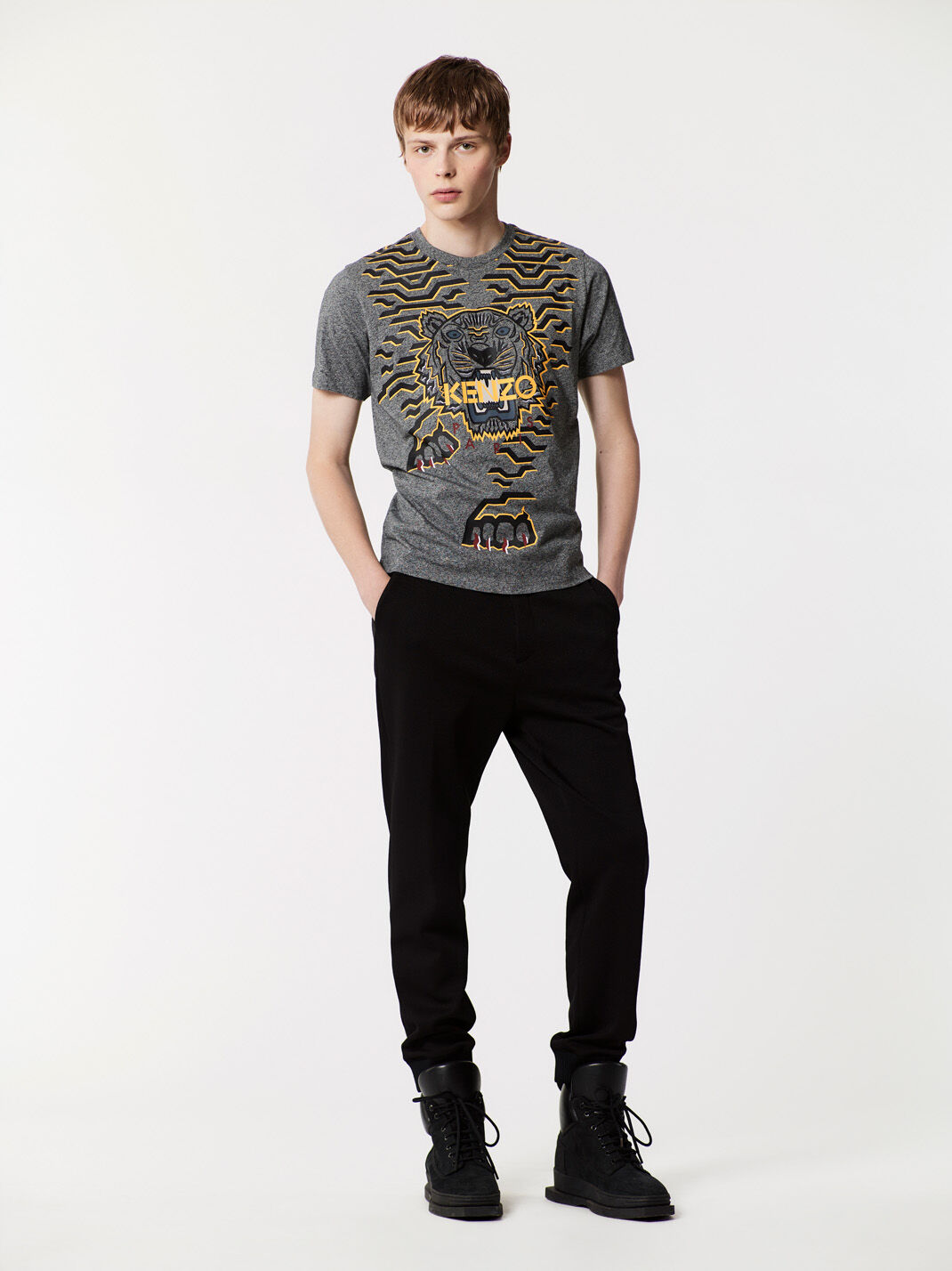 ANTHRACITE Geo Tiger T-shirt for men KENZO