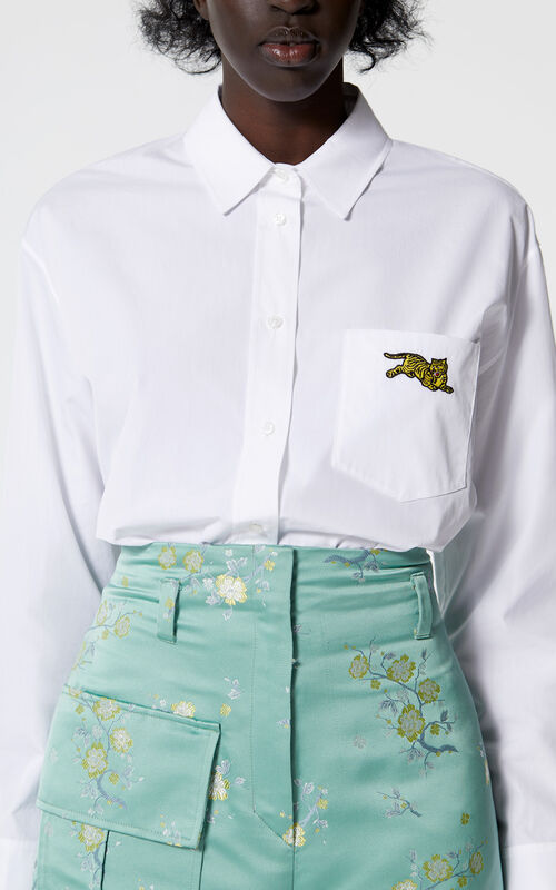 WHITE 'Jumping Tiger' shirt for women KENZO