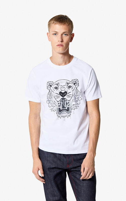 e21ce8fddf7 WHITE Tiger t-shirt for men KENZO ...