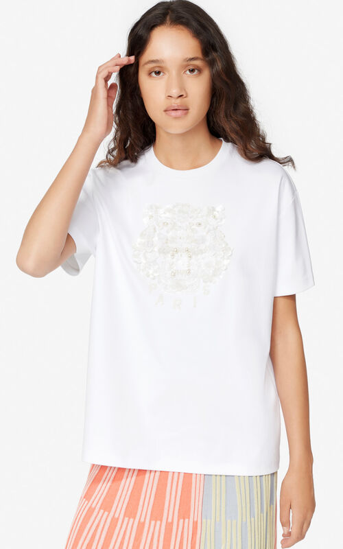 WHITE Sequined Tiger t-shirt for women KENZO