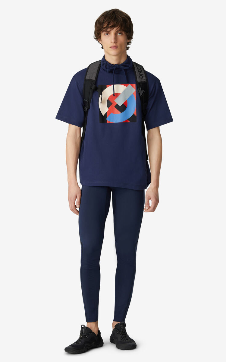MIDNIGHT BLUE KENZO Sport T-shirt with standing collar for men