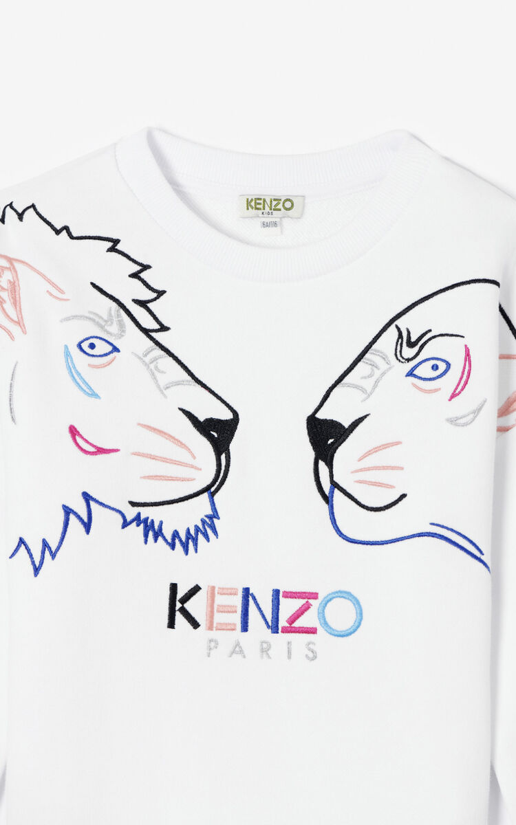 WHITE 'Tiger Friends' sweatshirt for women KENZO