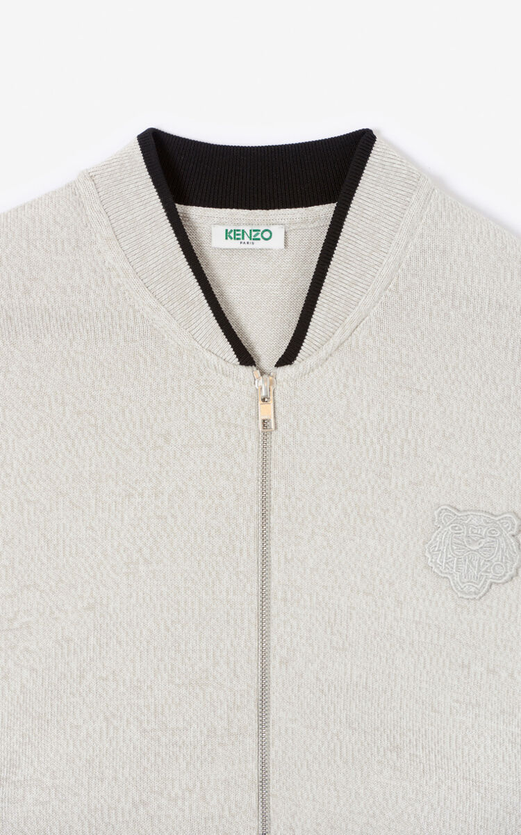 PEARL GREY Tiger zipped cardigan for women KENZO