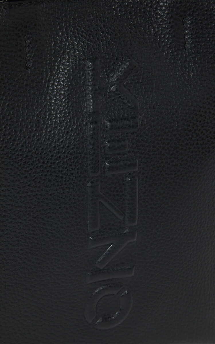 BLACK KENZO Imprint small grained leather tote bag for men