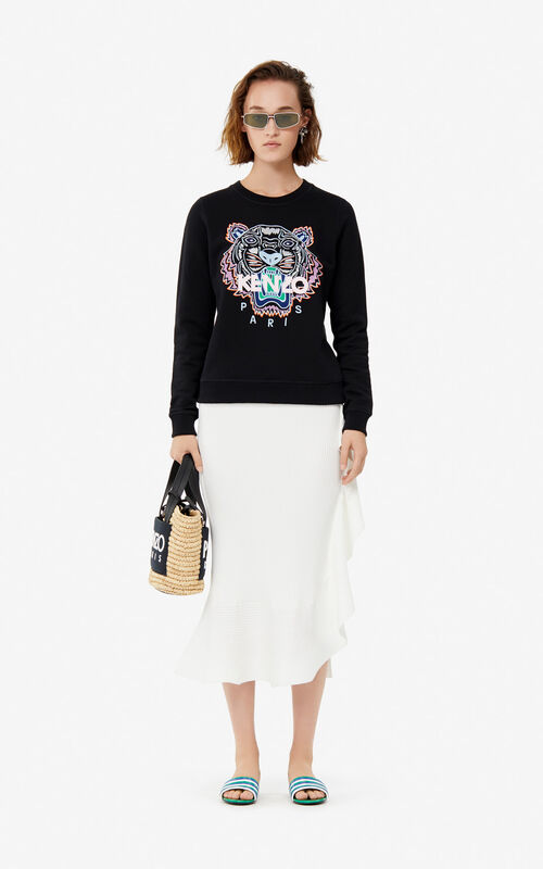 WHITE Ruffled midi skirt for women KENZO