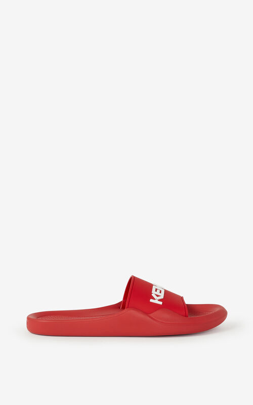 MEDIUM RED KENZO Logo Pool flip flops for unisex
