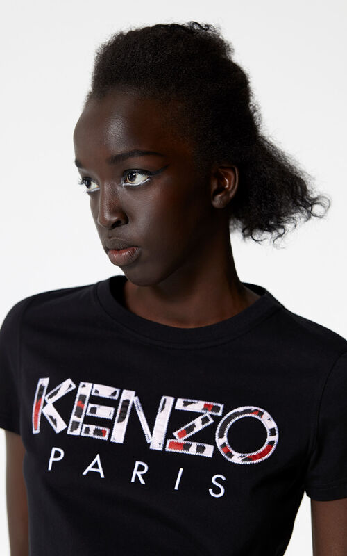 BLACK Leopard print KENZO Paris t-shirt for women