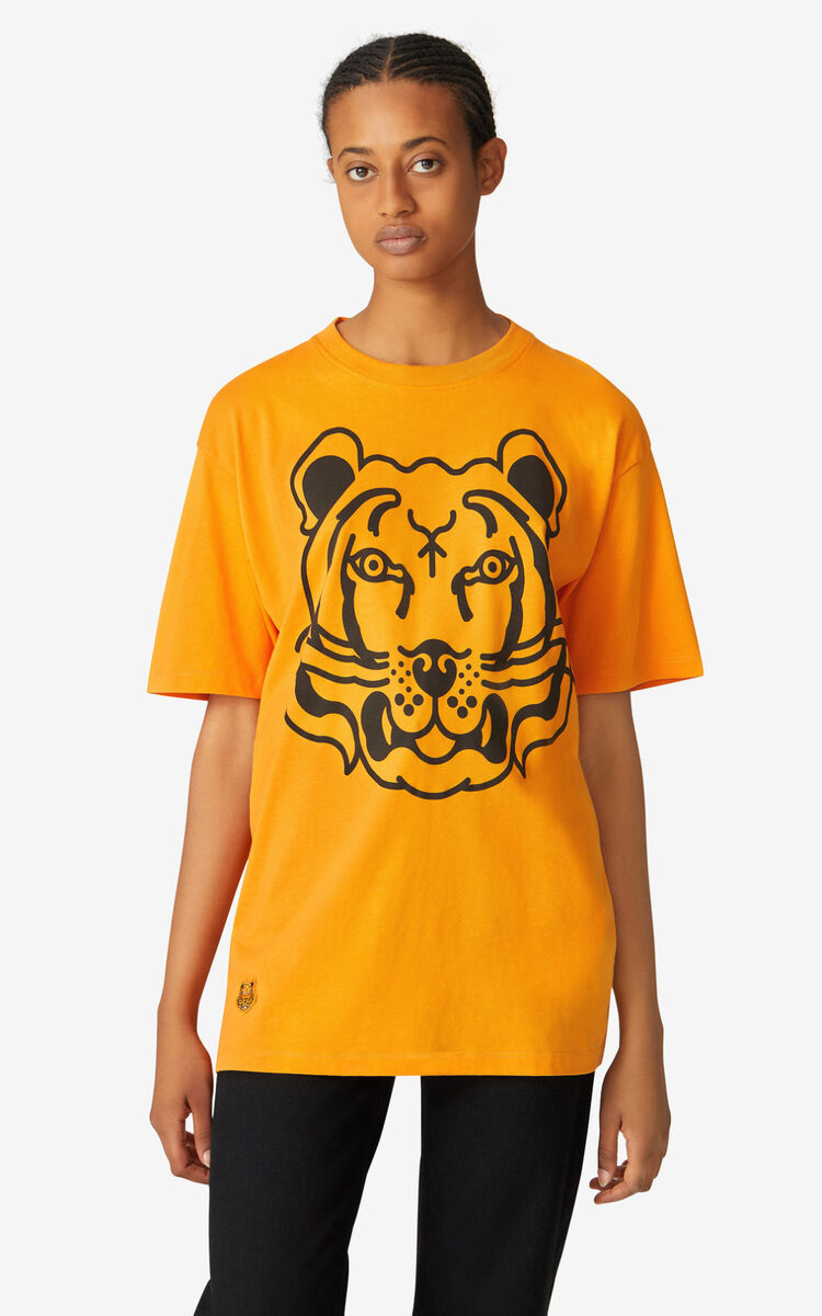 MEDIUM ORANGE K-Tiger oversized T-shirt for women KENZO