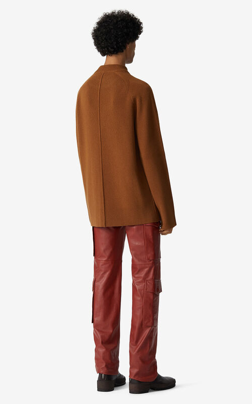 DARK CAMEL Rib knit wool jumper for men KENZO