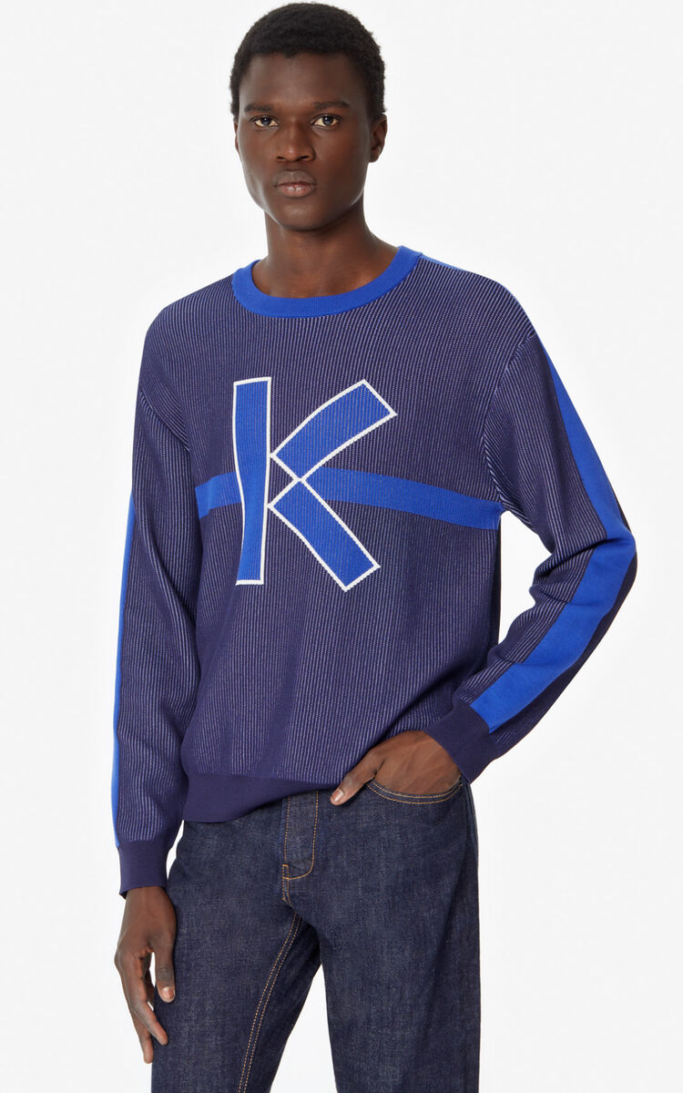 MIDNIGHT BLUE 'K' jumper for men KENZO