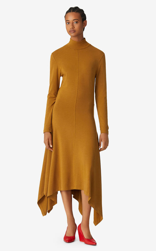 DARK BEIGE Fluid asymmetric dress for women KENZO