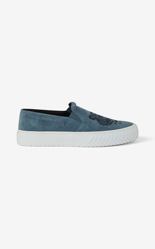 GLACIER K-Skate Tiger suede laceless sneakers for unisex KENZO
