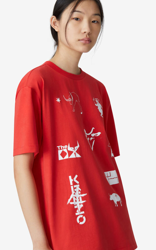 MEDIUM RED 'Sign & Symbol' oversize T-shirt for women KENZO
