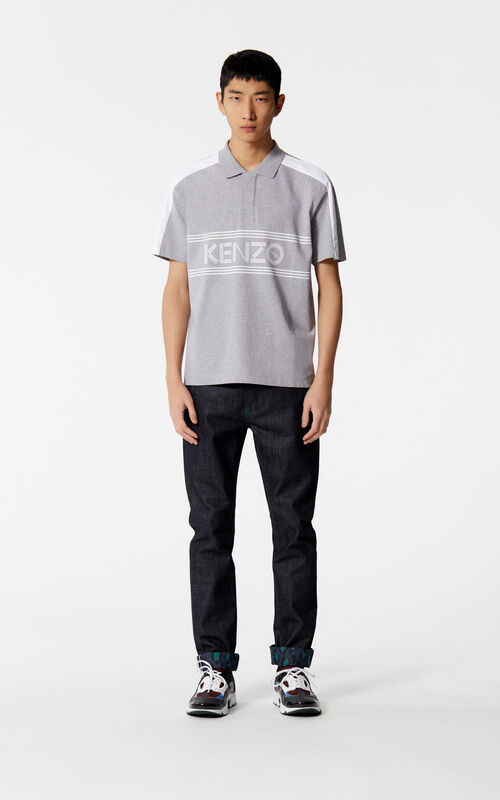 DOVE GREY KENZO Logo polo for men