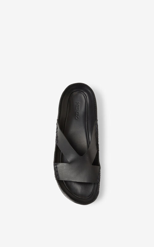 BLACK Opanka leather mules for men KENZO