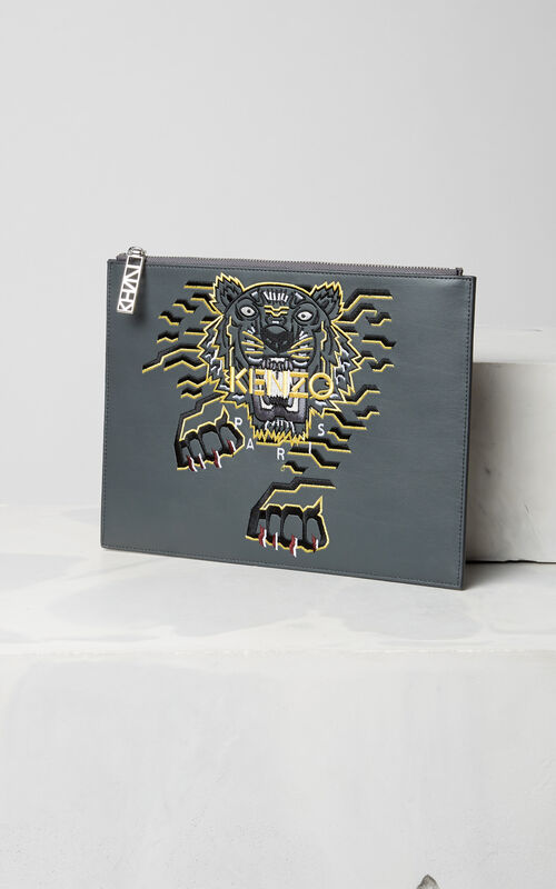 Geo Tiger  Clutch, ANTHRACITE, KENZO