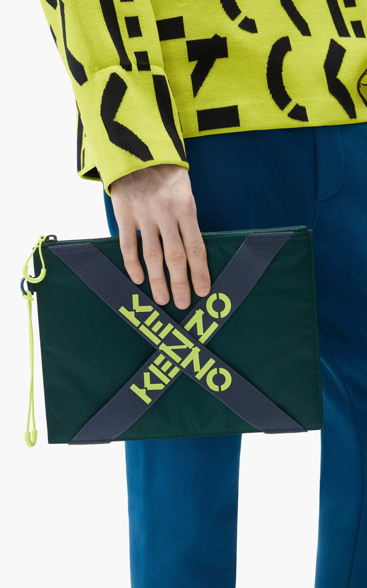 PALE GREY KENZO Sport large clutch for unisex