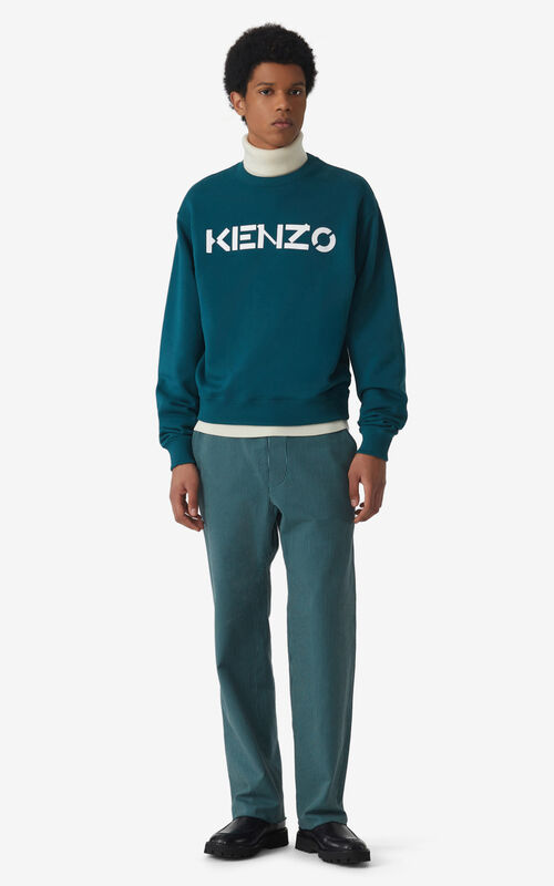 DUCK BLUE KENZO Logo sweatshirt for men