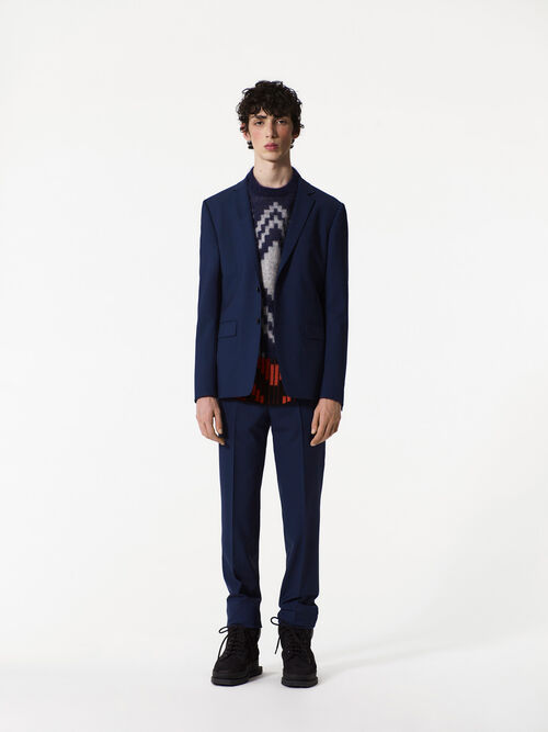 NAVY BLUE Wool jacquard and mohair sweater for men KENZO