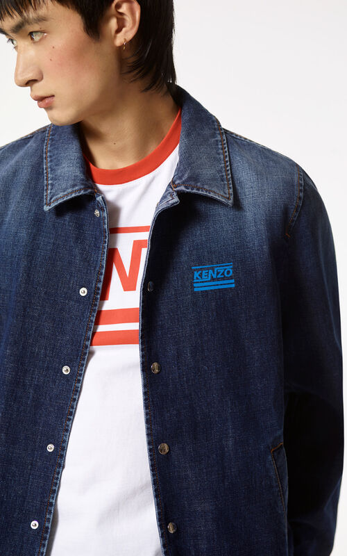 NAVY BLUE Denim KENZO jacket for men